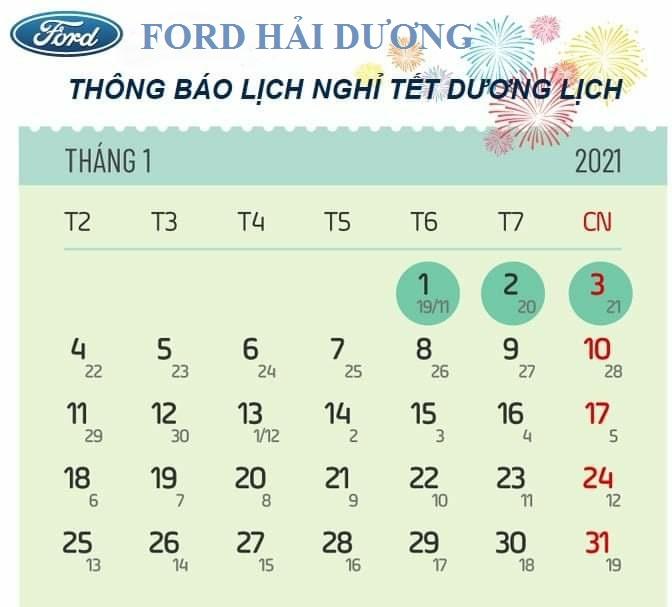 Thông báo nghỉ tết dương lịch của Đại lý Hải Dương Ford