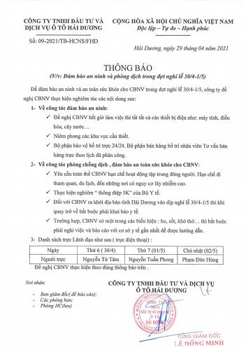 V/v : Đảm bảo an ninh và phòng chống dịch trong dịp nghỉ lễ 30/4 - 1/5 - Thực hiện tốt Khuyến cáo 5K